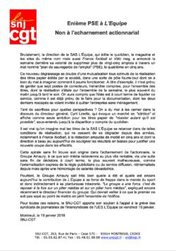 Enième PSE à L'Equipe Non à l'acharnement actionnarial dans CGT UPM Chapelle Darblay snjcgt19janv18-250x355
