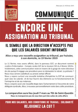 Acharnement contre une déléguée FILPAC CGT dans CGT UPM Chapelle Darblay ondulys19fev19-250x356