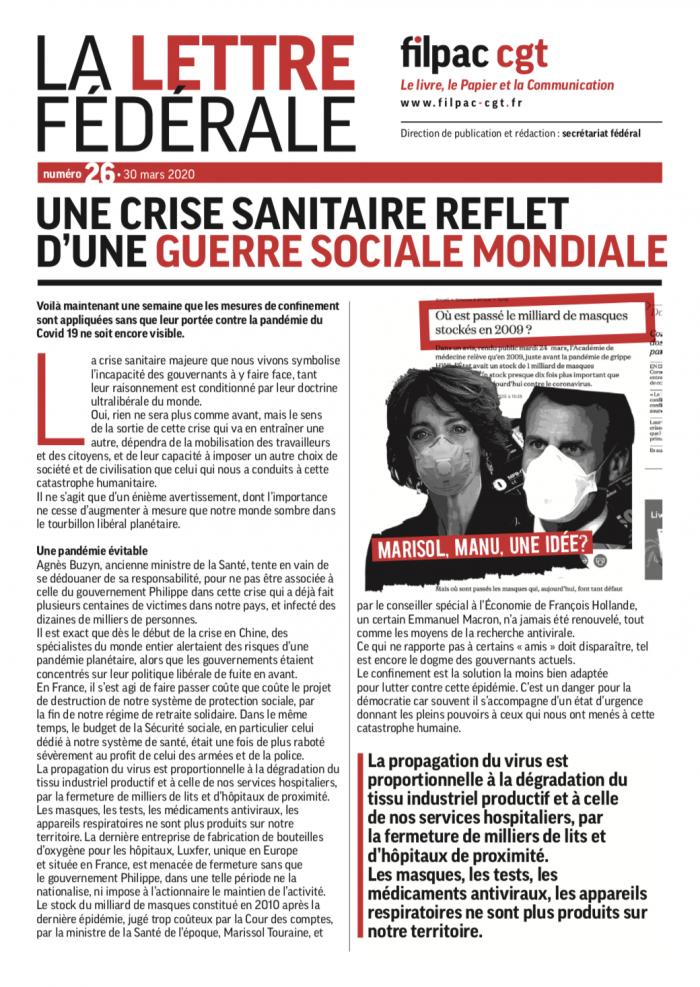 Une crise sanitaire reflet d'une guerre sociale mondiale dans CGT UPM Chapelle Darblay LETTRE-FEDERALE-no26-700x987