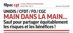 UNIDIS – CFDT – FO – CGC Main dans la main… dans CGT UPM Chapelle Darblay communiqueUnidisFilpac14mai20-1-250x115