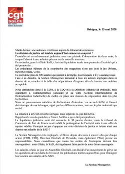 Redressement judiciaire pour Presstalis et liquidation pour la SAD dans CGT UPM Chapelle Darblay ectionMessageries15mai20-250x349